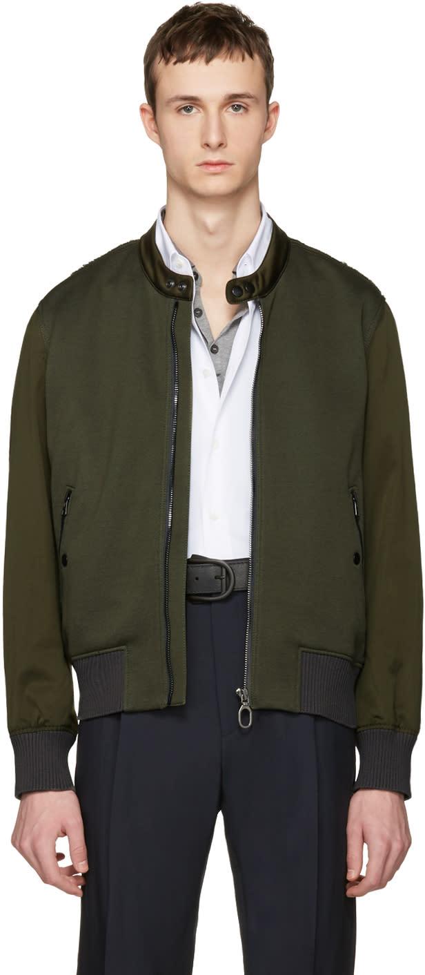 Lanvin Green Satin Combo Bomber Jacket