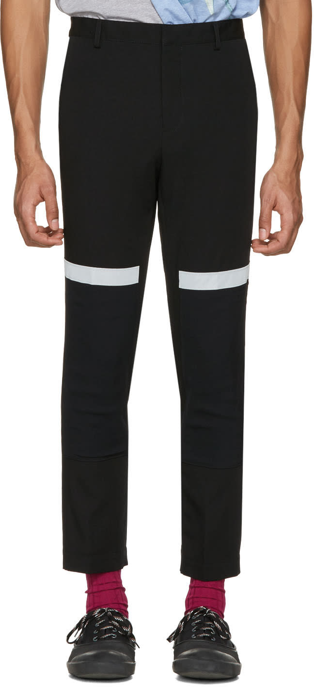 Lanvin Black Reflective Band Trousers