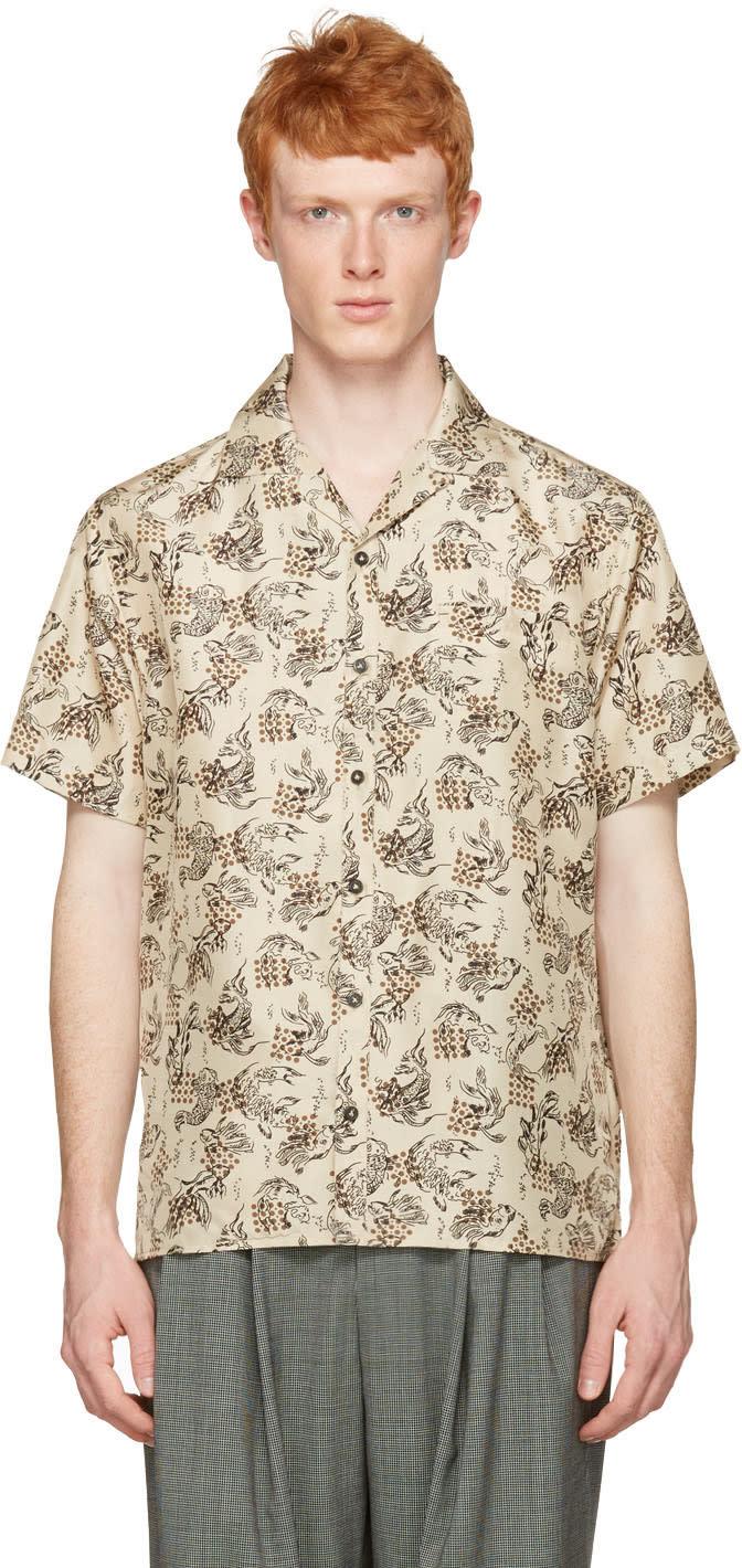 Image of Lanvin Beige Silk Koi Fish Shirt