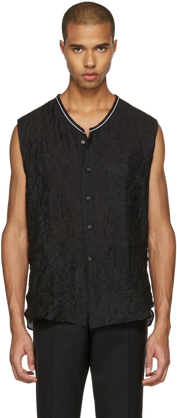 Lanvin Black Crinkled Sleeveless Shirt