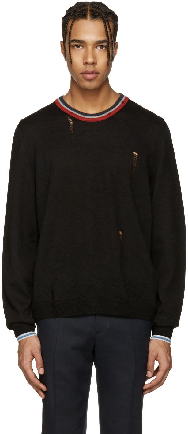 Lanvin ブラック ウール ディストレス セーター