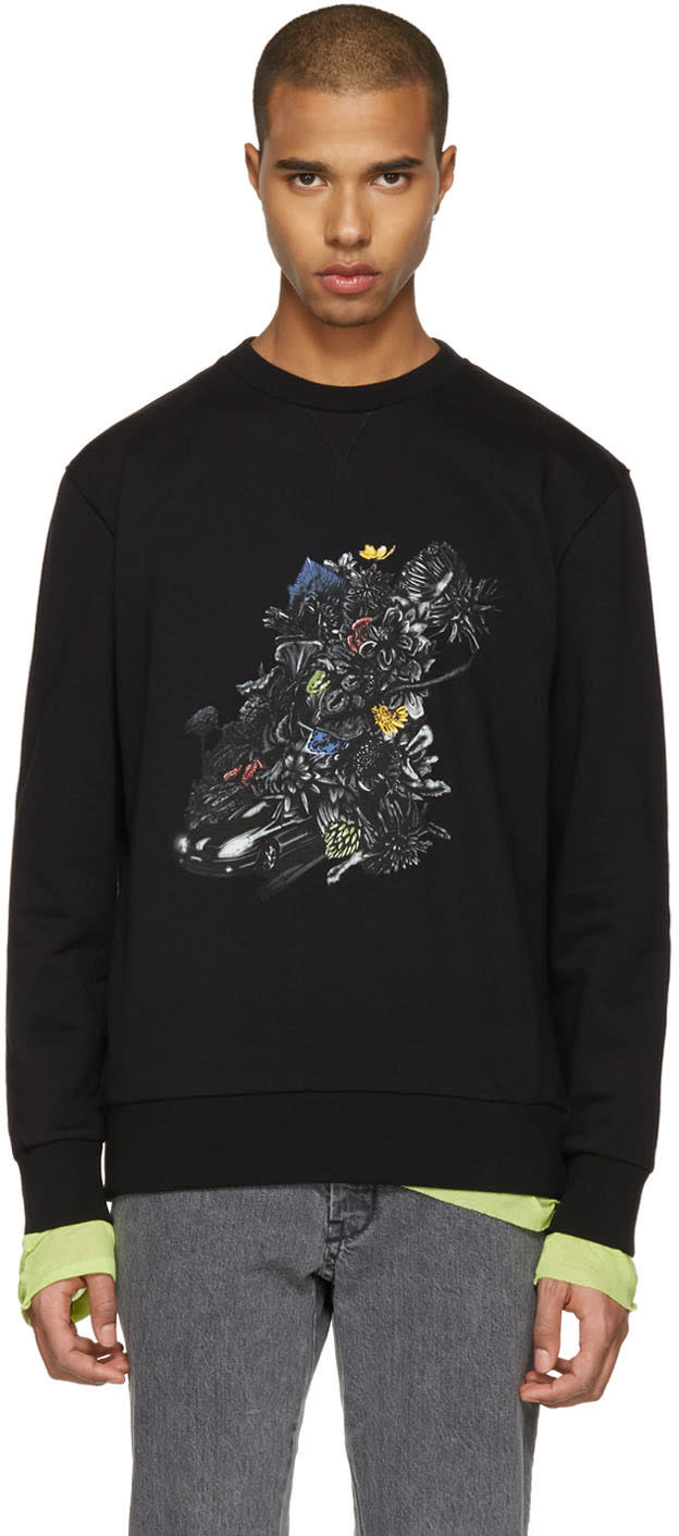 Lanvin Black Car and Flowers Pullover