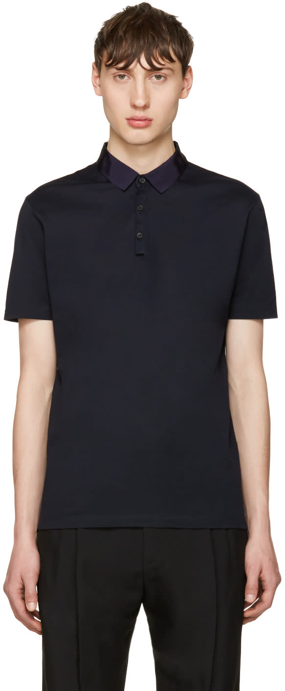 Lanvin Navy Grosgrain Collar Polo