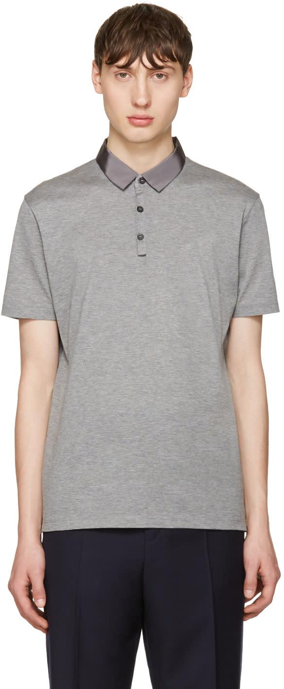 Lanvin Grey Grosgrain Collar Polo