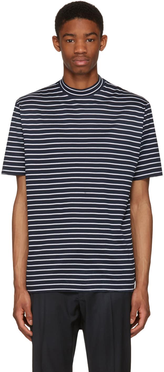 Lanvin Navy Striped Mock Neck T-shirt
