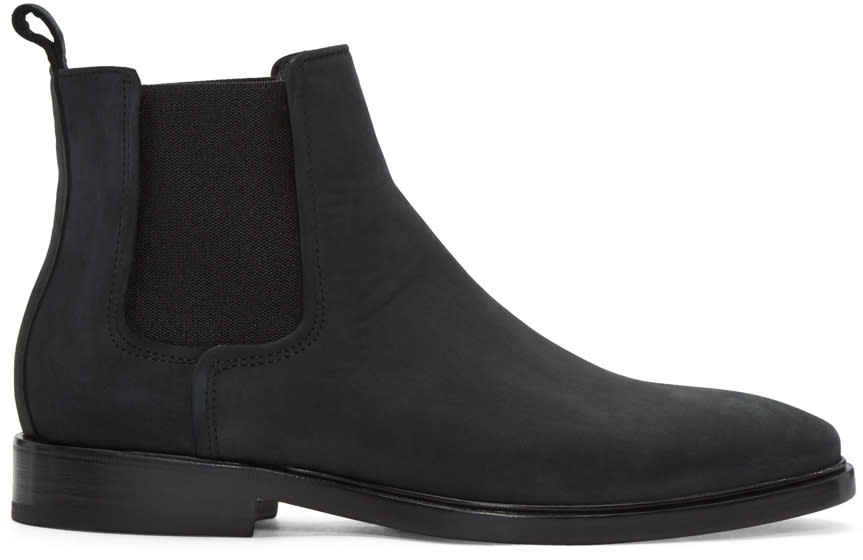 Lanvin Black Nubuck Chelsea Boots