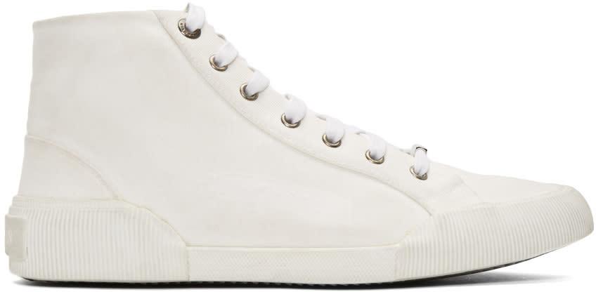 Lanvin ホワイト ディストレス キャンバス ミッドトップ スニーカー