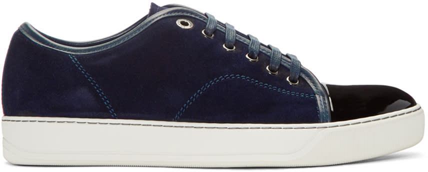 Lanvin Navy Suede Tennis Sneakers