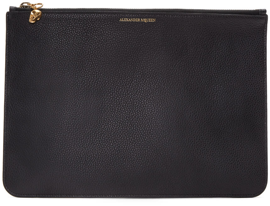 Alexander Mcqueen Black Leather Pouch