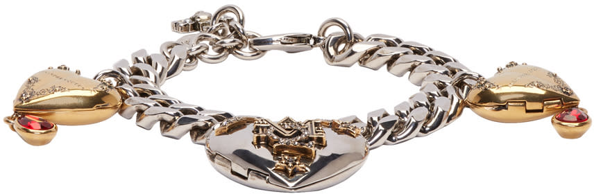 Alexander Mcqueen Silver and Gold Heart Locket Bracelet