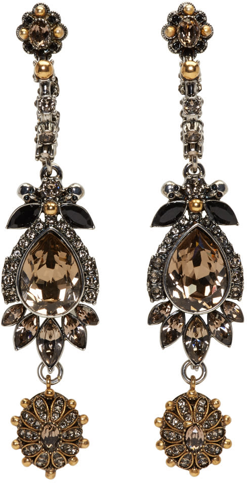Alexander Mcqueen Multicolor Jeweled Drop Earrings