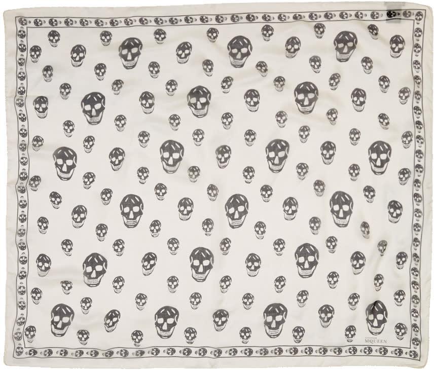 Alexander Mcqueen Ivory Silk Skull Scarf