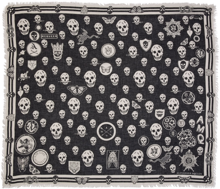 Alexander Mcqueen Black Multi Skull Scarf