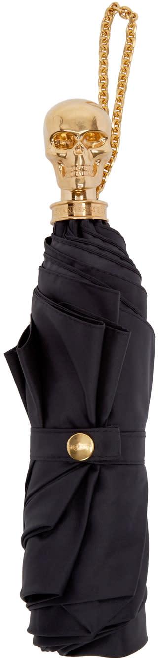 Alexander Mcqueen Black Skull Compact Umbrella
