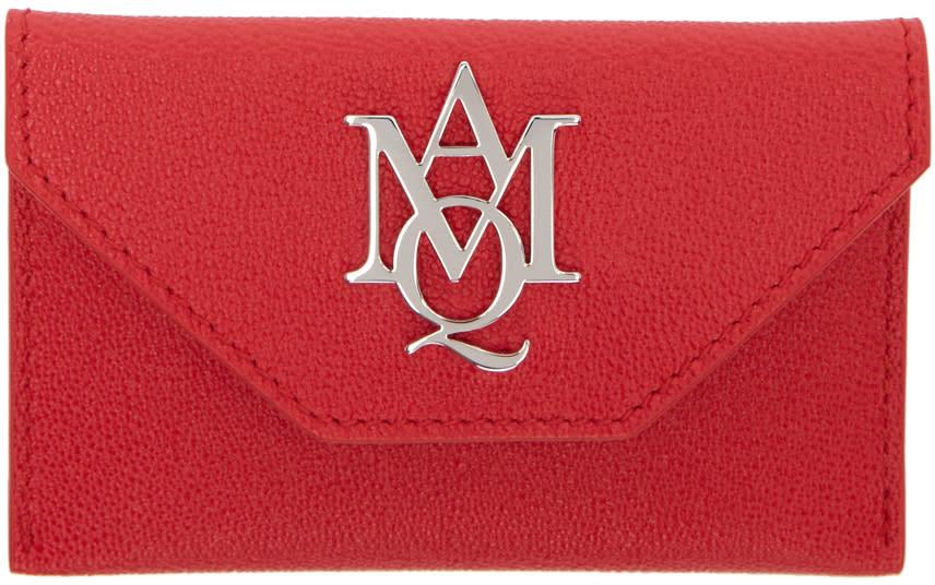 Alexander Mcqueen Red Insignia Envelope Card Holder