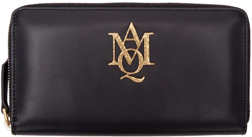 Alexander Mcqueen Black Insignia Zip Around Wallet