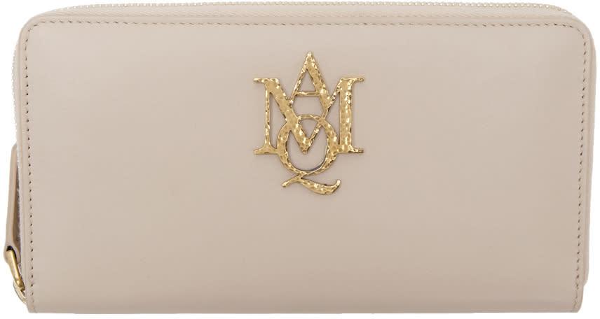 Alexander Mcqueen Pink Insignia Zip Around Wallet