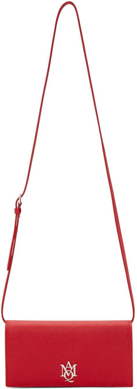 Alexander Mcqueen Red Insignia Pouch Bag