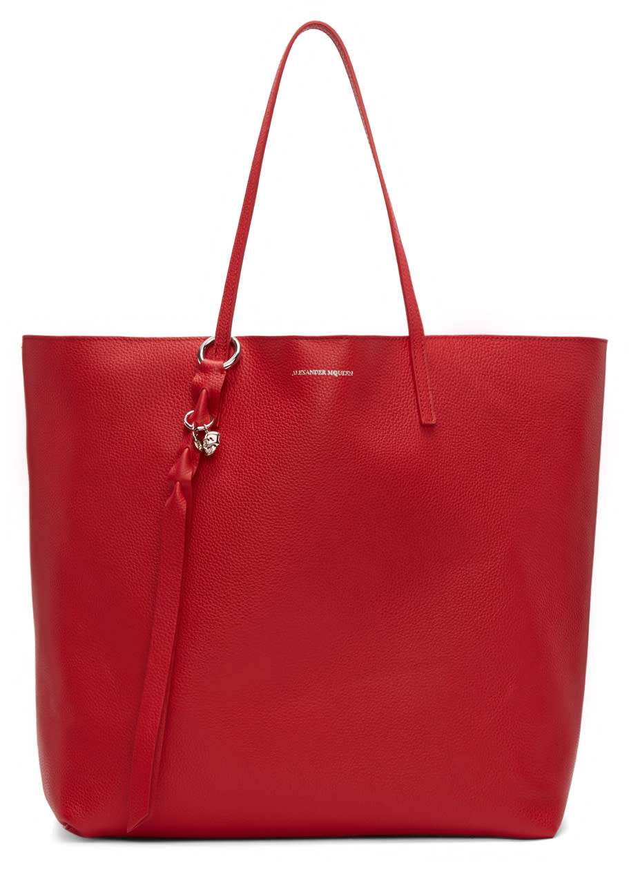 Alexander Mcqueen Red Leather Skull Tote Bag