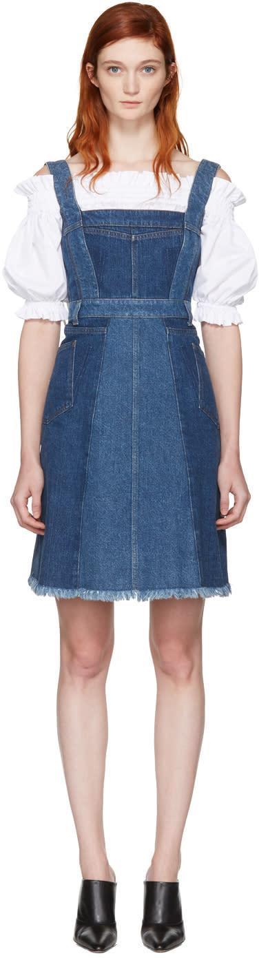 Alexander Mcqueen Blue Denim Patchwork Dress