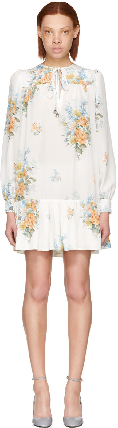 Alexander Mcqueen White Floral Dress