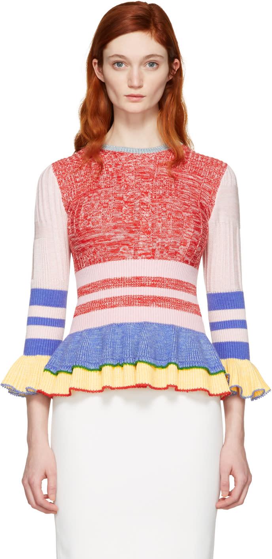 Alexander Mcqueen Multicolor Peplum Sweater