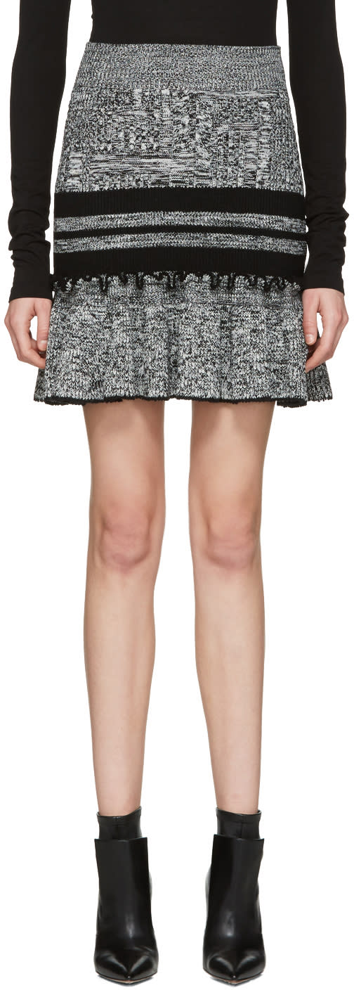 Image of Alexander Mcqueen Black and Ivory Ruffled Miniskirt