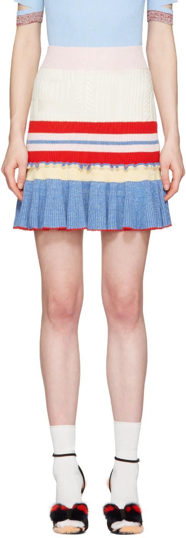 Alexander Mcqueen Muticolor Knit Ruffled Miniskirt