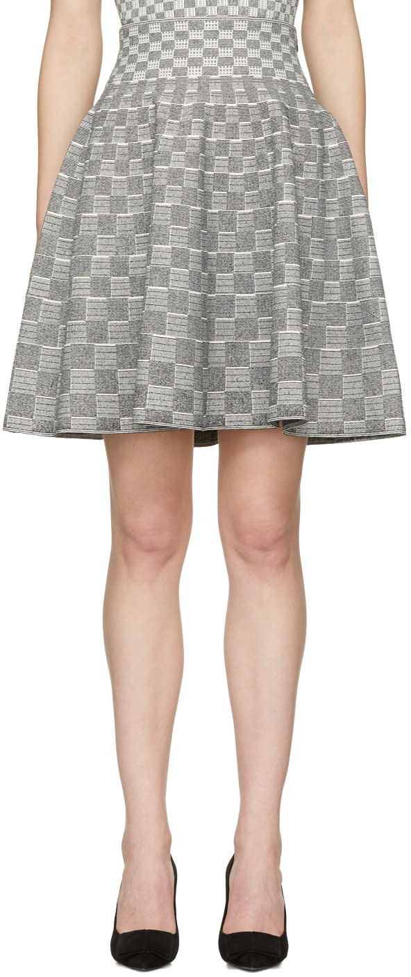 Image of Alexander Mcqueen Black and Ivory Jacquard Check Volume Miniskirt