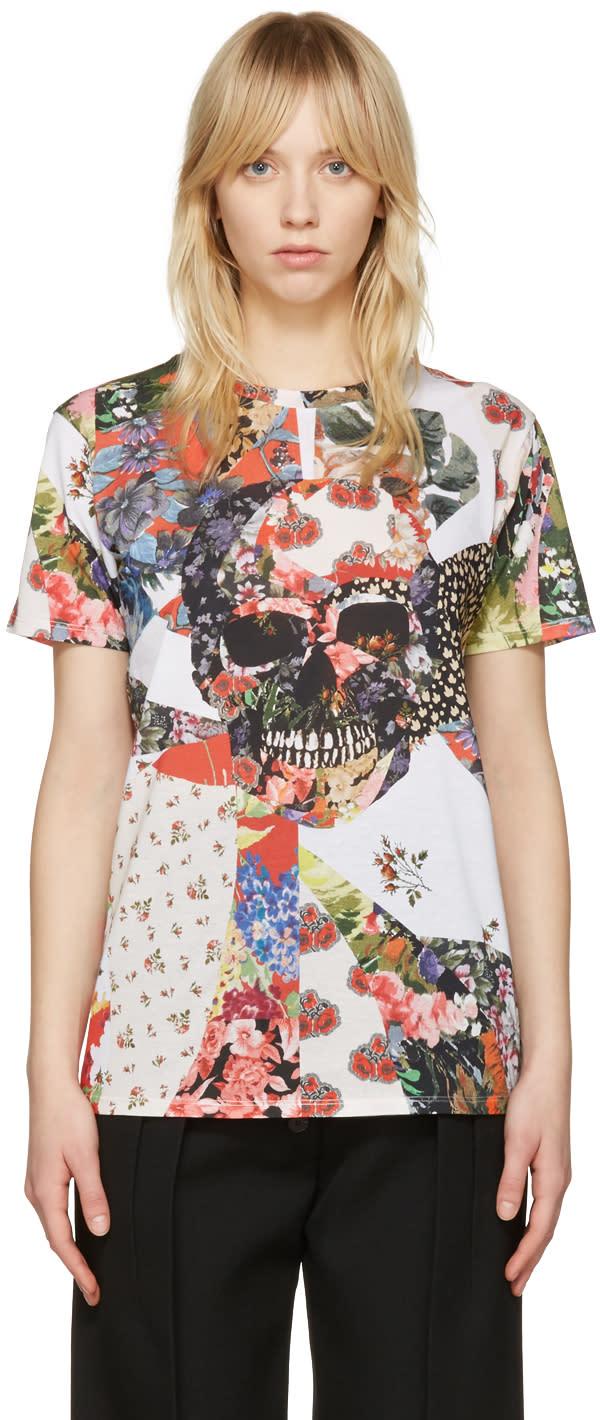 Alexander Mcqueen White Floral Skull Classic T-shirt