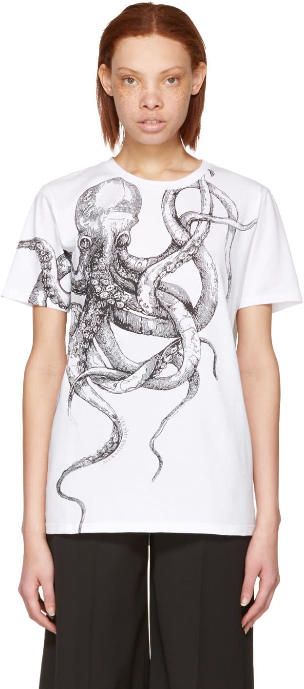 Alexander Mcqueen White Octopus T-shirt
