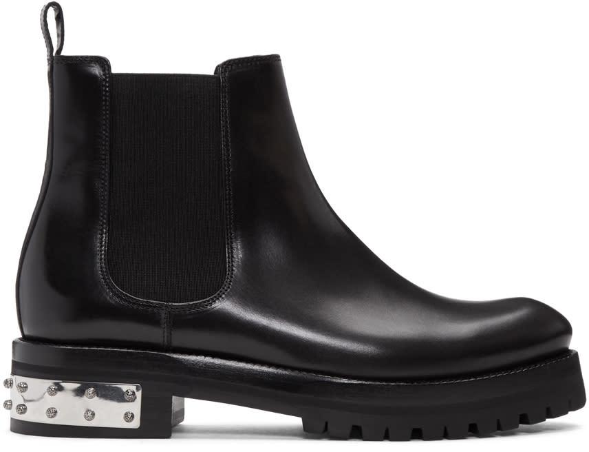 Alexander Mcqueen Black Studded Heel Ankle Boots