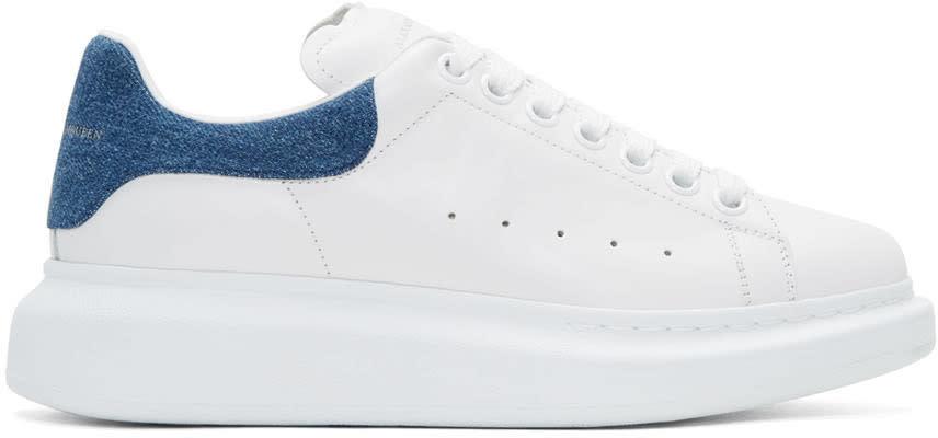 Alexander Mcqueen White Denim Oversized Sneakers