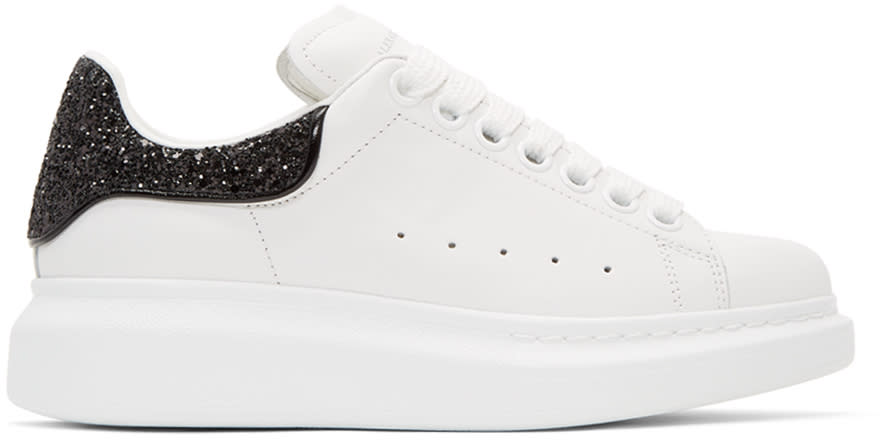 Alexander Mcqueen White and Black Glitter Oversized Sneakers