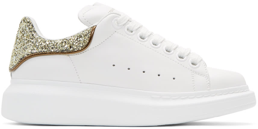 Alexander Mcqueen White and Gold Glitter Oversized Sneakers