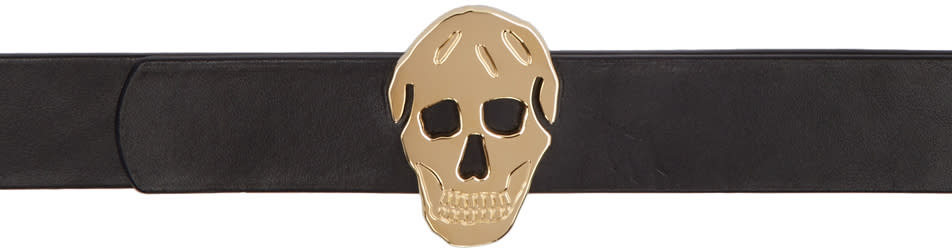Alexander Mcqueen Black and Gold 3d Skull Belt