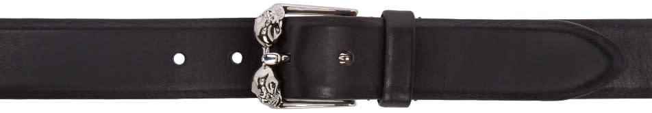 Alexander Mcqueen Black and Silver Skull Belt