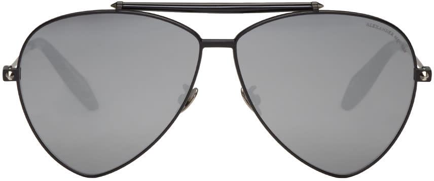 Alexander Mcqueen Black Teardrop Aviator Sunglasses