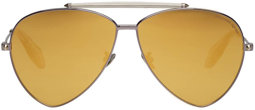 Alexander Mcqueen Gunmetal Teardrop Aviator Sunglasses