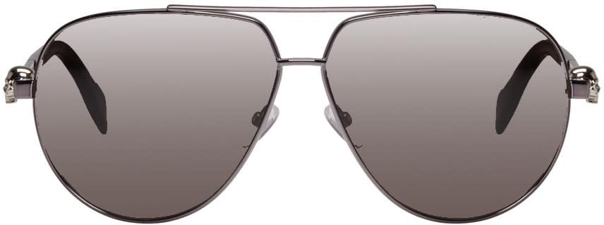 Alexander Mcqueen Gunmetal Skull Hinge Sunglasses