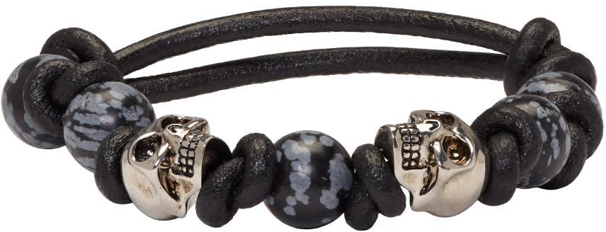 Alexander Mcqueen Black Stone and Skull Bracelet