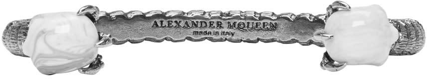 Alexander Mcqueen Silver Twin Skull Claw Bracelet