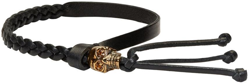 Alexander Mcqueen Black Braided Skull Bracelet