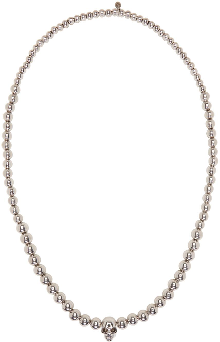 Alexander Mcqueen Silver Skull Ball Beaded Necklace