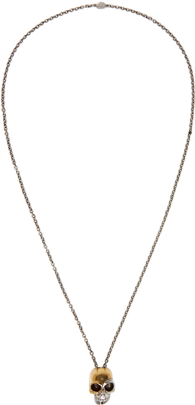 Alexander Mcqueen Silver and Gold Divided Skull Necklace