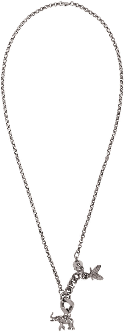 Alexander Mcqueen Silver Elephant and Fly Necklace