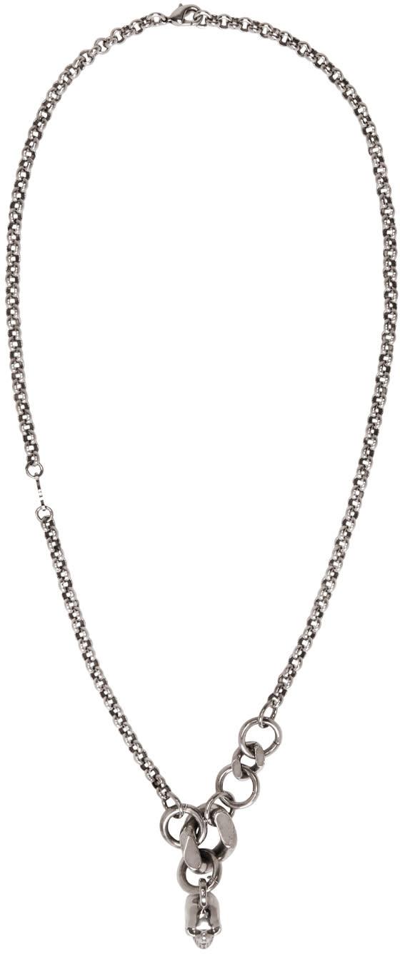 Alexander Mcqueen Silver Skull Chain Necklace