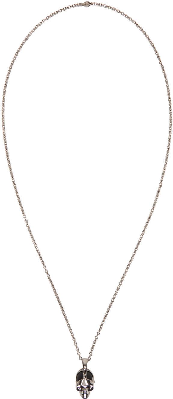 Alexander Mcqueen Silver Dominatrix Skull Necklace