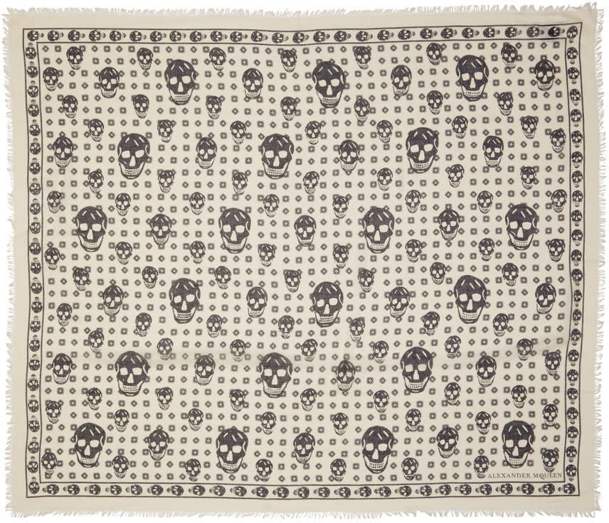 Alexander Mcqueen Ivory Big and Small Skulls Scarf