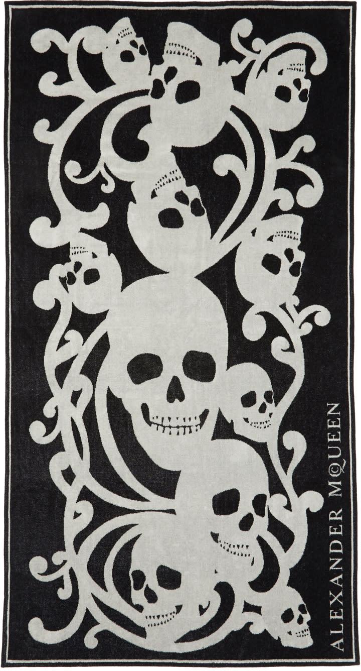 Alexander Mcqueen Black and Beige Skull Towel